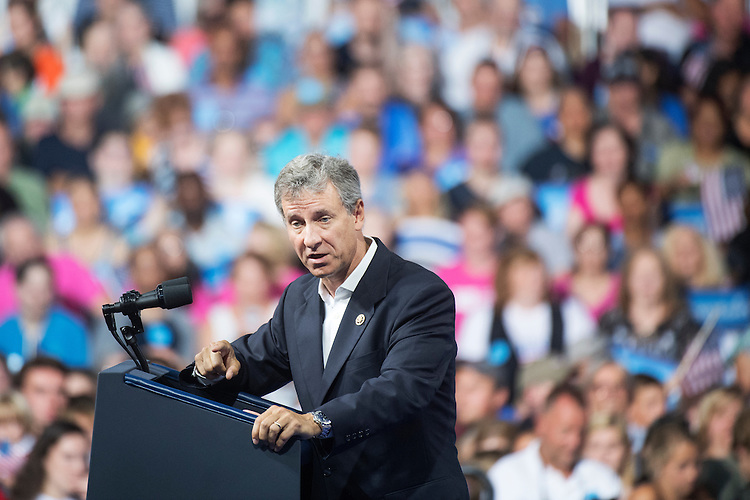 UNITED STATES - AUGUST 15: Rep. Matt Cartwright, D-Pa., speaks before a campaign rally with Vice President Joe Biden and Democratic presidential nominee Hillary Clinton at Riverfront Sports in Scranton, Pa., August 15, 2016. (Photo By Tom Williams/CQ Roll Call)