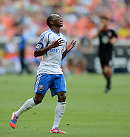 Sanna Nyassi (11) of the Montreal Impact reacts to missing a goal during the game at RFK Stadium in Washington DC.   D.C. United defeated the Montreal Impact, 3-0.