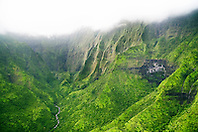 Mount Wai`ale`ale or Waialeale Crater, waterfalls, and Wailua River, Kauai, Hawaii