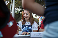 Stanford, CA - October 8, 2016: Marti Malloy, Olympian judo, before the Stanford vs. Washington State game Saturday night at Stanford Stadium. <br /> <br /> Washington State won 42-16.