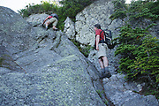 Hikers make their way up Six Husbands Trail during the summer months. Located in the White Mountains, New Hampshire USA