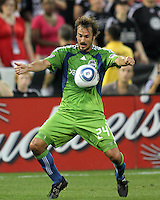 Roger Levesque #24 of Seattle Sounders FC scored the winning goal during an MLS match against D.C. United at RFK Stadium on July 15 2010, in Washington DC.Seattle won 1-0.