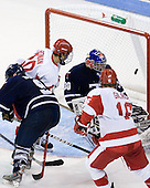 Kevin Gilroy (BU - 16) makes it 9-3 BU late in the third period. - The Boston University Terriers defeated the visiting University of Toronto Varsity Blues 9-3 on Saturday, October 2, 2010, at Agganis Arena in Boston, MA.