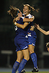 24 September 2009: Duke's KayAnne Gummersall (13) celebrates scoring the game tying goal in the 89th minute with Carey Goodman (right). The University of North Carolina Tar Heels defeated the Duke University Blue Devils 2-1 in sudden victory overtime at Fetzer Field in Chapel Hill, North Carolina in an NCAA Division I Women's college soccer game.