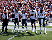 September 22nd, 2012: California captains - Marc Anthony, Isi Sofele, Keenan Allen and Josh Hill walk to the field for coin toss before the game against USC at Los Angeles Memorial Stadium in Los Angeles on September 15th, 2012. Ohio State Buckeyes defeated California Bears, 27 - 9.