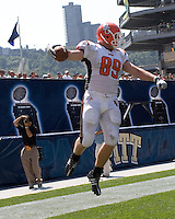 Bowling Green tight end Jimmy Scheidler celebrates his three-yard touchdown catch. The Bowling Green Falcons defeated the Pitt Panthers 27-17 on August 30, 2008 at Heinz Field, Pittsburgh, Pennsylvania.