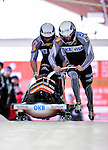 18 December 2010: Maximilian Arndt starts up his 2-man bobsled for Germany, finishing in 8th place at the Viessmann FIBT World Cup Bobsled Championships on Mount Van Hoevenberg in Lake Placid, New York, USA. Mandatory Credit: Ed Wolfstein Photo