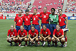6 June 2004: The U.S. starting lineup. Front row (l to r): Lindsay Tarpley, Kristine Lilly, Mia Hamm, Shannon Boxx, Cat Reddick. Back row (l to r): Heather Mitts, Joy Fawcett, Kate Markgraf, Abby Wambach, Briana Scurry, Julie Foudy. The United States tied Japan 1-1 at Papa John's Cardinal Stadium in Louisville, KY in an international friendly soccer game..
