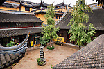 Chen Xiang Buddhist monastery courtyard in the old town of Shanghai, China 2014