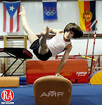 Waterbury, CT- 07, January 2010-010711CM08 Zachary Johnson, 10, of Terryville practices his flair's on the pommel horse Friday night at the Dynamite Academy of Gymnastics in Waterbury.  Johnson a member of the Future Stars National Developmental Team is training for an upcoming competition at Bridgeport University.  Johnson, ranked 12th in the country in his age group, trains under Lewis Rodrigeuz, owner of the Academy.  Christopher Massa Republican-American