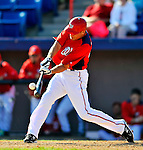 7 March 2011: Washington Nationals' outfielder Rick Ankiel connects for a 2-run homer during a Spring Training game against the Houston Astros at Space Coast Stadium in Viera, Florida. The Nationals defeated the Astros 14-9 in Grapefruit League action. Mandatory Credit: Ed Wolfstein Photo