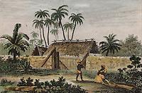 Slave hut, illustration, 1780, from La France Pittoresque, in the Musee d'Aquitaine, Cours Pasteur, Bordeaux, Aquitaine, France. Picture by Manuel Cohen