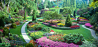 Vancouver, Butchart Gardens, Sunken Garden, Unique Landscaping CGI Backgrounds, ,Beautiful Background