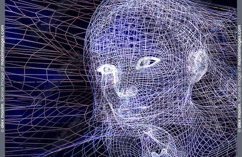 Woman digital wireframe face conceptual 3D illustration on dark blue background