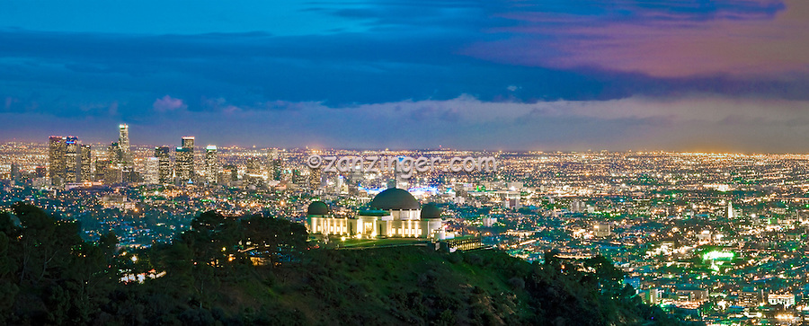 Griffith Observatory, L.A. Skyline, Cityscape, Night, Dusk, lit, Fantastic Panorama, los Angeles CA,