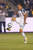 Landon Donovan (10) of the LA Galaxy traps the ball. The LA Galaxy and Red Bulls of New York played to a 1-1 tie at Home Depot Center stadium in Carson, California on  May 7, 2011....