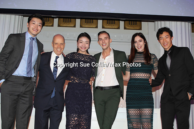 Figure Skating in Harlem celebrates 20 years - Champions in Life benefit Gala on May 2, 2017 honoring Sasha Cohen, and Curtis McGraw Webster and presenting Scott Hamilton with The Power of Inspiration Award at 583 Park Avenue, New York City, New York. Attending are Alex Shibutani; Scott Hamilton; Maia Shibutani; Adam Rippon; Ashley Wagner; Nathan Chen. (Photo by Sue Coflin/Max Photos)