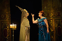 London, UK. 15.10.2014. English Touring Opera presents OTTONE, by George Frideric Handel, directed by James Conway, at the Hackney Empire. Picture shows:  Gillian Webster (Gismonda) and Louise Kemeny (Teofane). Photograph © Jane Hobson.