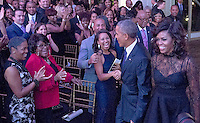 United States President Barack Obama and first lady Michelle Obama arrive prior to his delivering remarks at BET&rsquo;s &ldquo;Love and Happiness: A Musical Experience&rdquo; on the South Lawn of the White House in Washington, DC on Friday, October 21, 2016.<br /> Credit: Ron Sachs / Pool via CNP /MediaPunch
