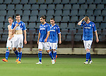 Alashkert FC v St Johnstone...02.07.15   Republican Stadium, Yerevan, Armenia....UEFA Europa League Qualifier.<br /> Steven MacLean, Joe Shaughnessy, Simon Lappin, Tam Scobbie and Brian Easton leave the pitch at full time<br /> Picture by Graeme Hart.<br /> Copyright Perthshire Picture Agency<br /> Tel: 01738 623350  Mobile: 07990 594431