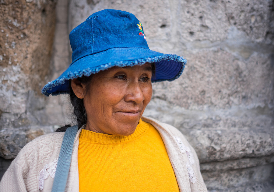 AREQUIPA, PERU - CIRCA APRIL 2014: Portrait of Peruvian woman in the streets of Arequipa. Arequipa is the Second city of Perú by population with 861,145 inhabitants and is the second most industrialized and commercial city of Peru.