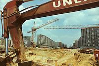 """ROMANIA, Bucharest, Obor, 1981..Constructrion of the underpass for cars at the Obor square..A third part of the old town has been destroyed to build a new and modern city..ROUMANIE, Bucarest, Obor, 1981..Construction du passage sous terrain pour voitures au niveaud e la place Obor. .Un tiers du vieux Bucarest a été détruit pour construire une ville neuve et moderne dans le cadre de la politique de """"systématisation""""..© Andrei Pandele / EST&OST"""