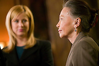 "8 May 2006 - North Bergen, NJ - Actresses Leslie Caron (R) looks at Connie Nielsen (not pictured) between takes on the studio set of television show ""Law & Order: SVU"" as Diane Neal (L) looks on in North Bergen, USA, 8 May 2006. In this rare appearance in front of American television cameras, Caron, 74, plays a French victim of past sexual molestation in an episode entitled ""Recall"" due to air in the fall. Caron starred in Hollywood classics such as ""An American in Paris"" (1951), ""Lili"" (1953), ""Gigi"" (1958). More recently she appeared in ""Chocolat"" (2000) and ""Le Divorce"" (2003). Photo Credit: David Brabyn"