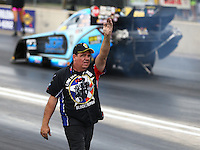 Jul 23, 2016; Morrison, CO, USA; NHRA funny car team owner Terry Haddock during qualifying for the Mile High Nationals at Bandimere Speedway. Mandatory Credit: Mark J. Rebilas-USA TODAY Sports