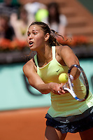 Vitalia Diatchenko (RUS) against Mathilde Johansson (FRA) in the first round of  the Women's Singles. Diatchenko beat Johansson 2-6 6-2 10-8..Tennis - French Open - Day 1 - Sun 24th May 2009 - Roland Garros - Paris - France.Frey Images, Barry House, 20-22 Worple Road, London, SW19 4DH.Tel - +44 20 8947 0100.Cell - +44 7843 383 012