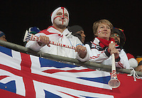 England supporters watch the action on the pitch of Royal Bafokeng Stadium before the 2010 World Cup first round match between USA and England in Rustenberg, South Africa on Saturday, June 12, 2010.
