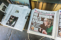 Front pages on Thursday, January 24, 2013 of the New York Timesl and the New York Post report on Secretary of State Hillary Clinton testifying at a congressional hearing on the attack on the Benghazi consulate where four Americans were killed including Ambassador Chris Stevens. (© Richard B. Levine)