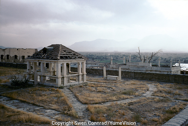 The ruined tomb and gardens of Mogul Emperor Barburin the suburb of Kabul. When life was good in this war ruined city families would come to this site to picnic and frolic on the weekly holy day of Friday.