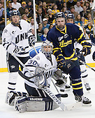 Damon Kipp (UNH - 4), Matt DiGirolamo (UNH - 30), Jesse Todd (Merrimack - 16) (DeSimone) - The Merrimack College Warriors defeated the University of New Hampshire Wildcats 4-1 in their Hockey East Semi-Final on Friday, March 18, 2011, at TD Garden in Boston, Massachusetts.