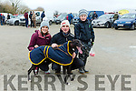 Niamh McKenna, Alan O'Connor and Evan O'Connor   from Lixnaw with Pennylane Lucky, Entered in the Donal McNamara Memorial Stake and Lyons Cup at the 88th Annual Meeting of the  Lixnaw Coursing Club on Sunday