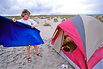 Beverly Hinchorek Putting Up Her Tent
