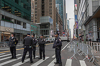 NEW YORK, NY - NOVEMBER 24:  Police stand guard as people watchwatch the 90th annual Macy's Thanksgiving Day Parade on November 24, 2016 in New York City.  Photo by VIEWpress/Maite H. Mateo.