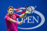 NEW YORK, USA - SEPT 11, Stan Wawrinka of Switzerland  returns a shot against Novak Djokovic of Serbia during their Men's Singles Final Match of the 2016 US Open at the USTA Billie Jean King National Tennis Center on September 11, 2016 in New York.  photo by VIEWpress