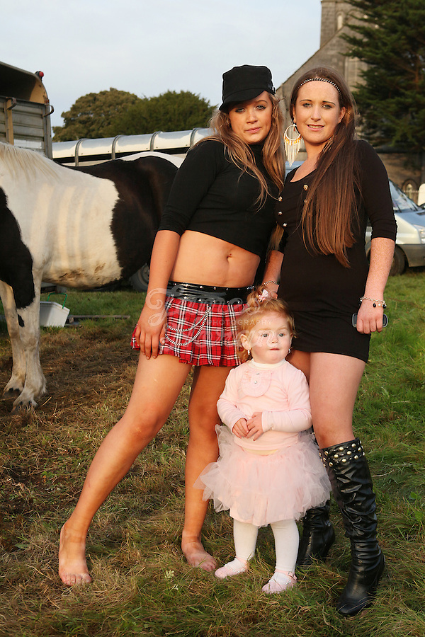 3/10/2010.  Traveller girls Donna Donovan 16, Joan Quilligan 2 and Tina Quilligan 12 are pictured at the Ballinasloe Horse Fair, Ballinasloe, County Galway, Ireland. Picture James Horan