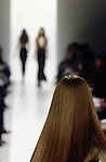 Fashion show, models on runway, selective focus