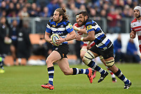Max Clark of Bath Rugby goes on the attack. Aviva Premiership match, between Bath Rugby and Gloucester Rugby on April 30, 2017 at the Recreation Ground in Bath, England. Photo by: Patrick Khachfe / Onside Images