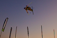 Oscar Scherlin from Sweden performs his trick during the freestyle skiing competition held on the 35 meters high artificial ski jumping ramp on the Monster Energy Fridge Festival in central Budapest, Hungary on November 12, 2011. ATTILA VOLGYI