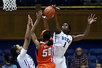 08 January 2015: Duke's Elizabeth Williams (1) blocks a shot by Syracuse's Briana Day (50) with help from Kendall Cooper (left). The Duke University Blue Devils hosted the Syracuse University Orange at Cameron Indoor Stadium in Durham, North Carolina in a 2014-15 NCAA Division I Women's Basketball game. Duke won the game 74-72.