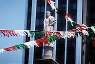 Manhattan, New York City, NY - June, 1970.   The statue of Italian explorer Christopher Columbus  stands tall in Columbus Circle, New York. Christopher Columbus has become a significant icon for the Italian-American Unity.