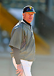 15 April 2008: University of Vermont Catamounts' coach Bill Currier watches his team warm up prior to facing the Dartmouth College Big Green at Historic Centennial Field in Burlington, Vermont. The Catamounts rallied from a 7-3 deficit going into the bottom of the ninth, to tie and then win in the tenth: 8-7 over Dartmouth in a non-conference NCAA game...Mandatory Photo Credit: Ed Wolfstein Photo