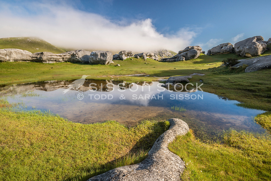 Castle Hill Rocks, Reflection, Canterbury, New Zealand - stock photo, canvas, fine art print