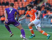 Blackpool's Andy Taylor takes on Cheltenham Town's Harry Pell<br /> <br /> Photographer Alex Dodd/CameraSport<br /> <br /> The EFL Sky Bet League Two - Blackpool v Cheltenham Town - Saturday 22nd April 2017 - Bloomfield Road - Blackpool<br /> <br /> World Copyright &copy; 2017 CameraSport. All rights reserved. 43 Linden Ave. Countesthorpe. Leicester. England. LE8 5PG - Tel: +44 (0) 116 277 4147 - admin@camerasport.com - www.camerasport.com