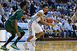 16 December 2015: North Carolina's Marcus Paige (right) and Tulane's Malik Morgan (left). The University of North Carolina Tar Heels hosted the Tulane University Green Wave at the Dean E. Smith Center in Chapel Hill, North Carolina in a 2015-16 NCAA Division I Men's Basketball game. UNC won the game 96-72.