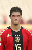 Germany's Semih Aydilek (15) stands on the field before the match against Brazil during the FIFA Under 20 World Cup Quarter-final match at the Cairo International Stadium in Cairo, Egypt, on October 10, 2009. Germany lost 2-1 in overtime play.