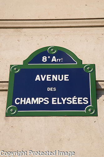 Avenue des Champs Elysees Sign, Paris