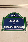 Champs Elysees Street Sign, Paris, France